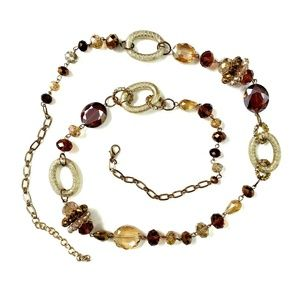 Long Retro 80s Beaded Gold Tone Crystal Necklace